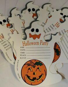 Set 8 Vintage Halloween Party Invitations With Envelopes Unused Ghost Die-Cut
