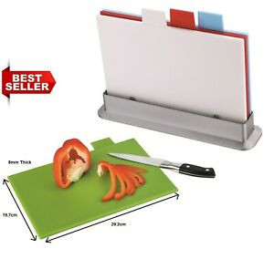 5pc Chopping Board Set 8mm Thick INDEX 4 Coloured Cutting Boards Non Slip Stand