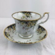 More details for royal albert royal ascot tea cup and saucer white gold black tableware china