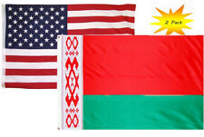 3x5 3'x5' Wholesale Set (2 Pack) USA American & Belarus Country Flag Banner