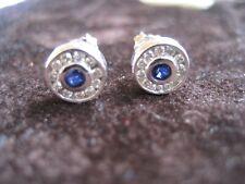 14Kt White Gold Sapphire & Diamond Earrings