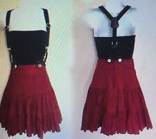 Sz 2 Betsey Johnson Skirt with Suspenders Red Black Corduroy