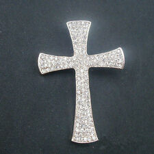Unisex Silver Full Clear Rhinestone Big Cross Brooch Pin Shawl Scarf Pin