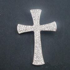 Unisex Silver Full Clear Rhinestone Big Cross Brooch Pin Shawl Scarf Pin