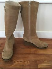 Wallis tan CAMEL brown SOFT SUEDE knee high BOOTS WEDGE HEEL SIZE 5 eur 38