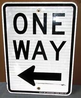 Vtg ONE WAY w/Left Arrow Chicago Aluminum Road/Street Sign 24 x 18 Man Cave S578