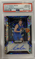 ROOKIE! 2018-19 Luka Doncic Panini Prizm Fast Break (RC/AUTO) #FRLDC! PSA 10!