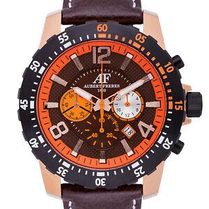 NEW Aubert Freres 14137 Mens Alton Chronograph Date GMT Orange Brown Dial Watch