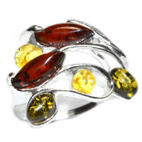 4.7g Authentic Baltic Amber 925 Sterling Silver Ring Jewelry N-A7454