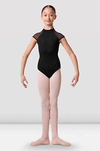 Bloch Girls Cap Sleeve Dance Leotard High Neckline Stardust Embroidery Black