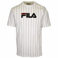 FILA Men's White & Navy Blue Striped Logo S/S T-Shirt (165)