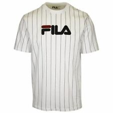 FILA Men's White & Navy Blue Striped Logo S/S T-Shirt (165)