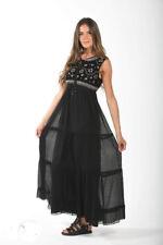 NJ Couture Paris Gothik Maxi Kleid Hängerchen Black Chiffon Samt Steine Gr.S 36