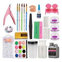 18PCS Nail Art Set Acrylic Liquid Powder Half French Nail Files Buffer Pen Kit