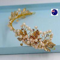 Women lady wedding Flower Girl gold leaf Pearl Hair Headband Prop Garland hoop