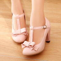 Women Buckle T-strap Round Toe Block High Heel Bow Lolita Mary Jane Shoes Solid