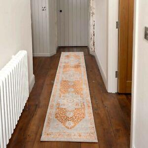 Grey Traditional Runner Rug Orange Medallion Bordered Vintage Bedroom Carpet Mat