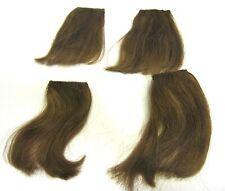"Vtg Hair Piece Auburn Medium Brown Synthetic 4 Pc 4"" Long Clip In Enhancement"
