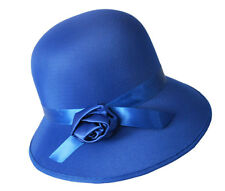 1920's LADIES BLUE CLOCHE BONNET COSTUME HAT