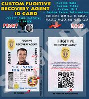 CUSTOM PVC ID Card w/ Clip  CUSTOM FUGITIVE RECOVERY AGENT ID CARD
