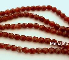 50 4mm Czech Glass Firepolish Beads: Chestnut Coral