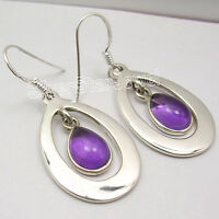 925 SOLID Silver Classic DROP AMETHYST SEMI PRECIOUS GEMSTONE Earrings 1.7 Inch