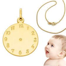 Geburts Taufuhr Gold 585 mit Gravur Name Datum Uhrzeit mit Kette 925 vergoldet