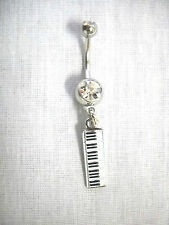 NEW MUSICIAN ENAMEL PIANO KEYBOARD CHARM ON 14g CLEAR CZ BELLY RING BARBELL