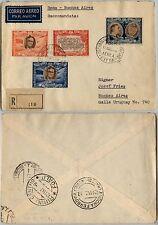 SAN MARINO-Omaggio Roosevelt(305+A61+A65+A67)-Raccomandata x Uruguay 11.11.1947