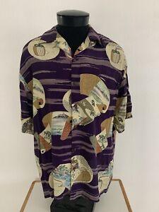 Rare IOLANI  Asian Oriental Scroll Rayon Hawaiian Aloha Shirt L Very All Saints