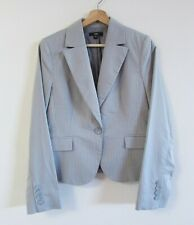 Cue Size 12 Light Grey Pinstripe Single Button Collared Tailored Blazer Jacket