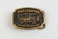 Vintage BTS Solid Brass Belt Buckle: Firefighter 1910 Seagrave