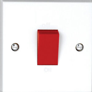 BOX OF 10 Vimark 45A Cooker Switch 1 Gang Double Pole Small White