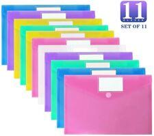 11 Pack Plastic Envelopes Poly Envelopes Clear Document Folders Office Work New