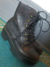 dr martens leona boots Sz US 6 distressed brown leather lace up heeled EUC