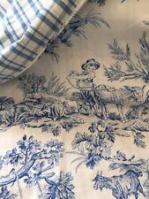 Custom Porcelain Blue and White Toile Queen Duvet reversible Euc