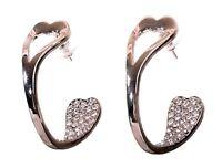 Swarovski Elements Crystal Half Open Hoop Earrings Rhodium Authentic New 7961w
