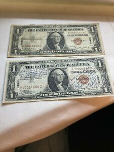 LOT OF TWO 1935 A HAWAII SILVER CERTIFICATE NOTES ONE WITH WRITING ESTATE FIND