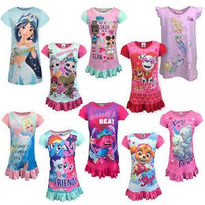 Girls Nightdress Nightie Pyjamas Nighty Disney Frozen My Little Pony Barbie LOL