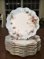 """Set of 8 Antique DOULTON-BURSLEM Scalloped Pale Blue Floral 8.75"""" Cabinet Plates"""
