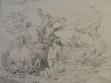 E. P. CALMÉ ´SEEMONSTER; TRITONEN; SEA MONSTER; TRITONES´ RADIERUNG, ~1800 RARA
