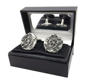 English Tudor Rose Silver Pewter Mens Gift cuff links, personalised gift