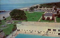 St Simons Island Georgia swimming pool beach pier aerial 1970s postcard