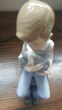 Original Lladro Nao Figurine : Boy With Dog, In Immaculate Condition