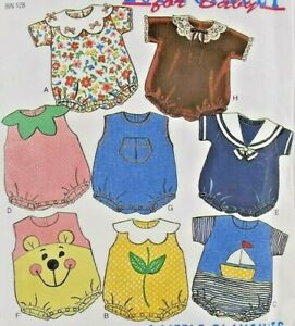 1995 New Look Sewing Pattern 6399 Infants Baby Rompers 8 Designs Size NB-L 6380F