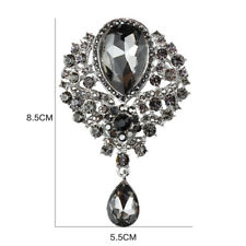 VINTAGE INSPIRED WHITE GOLD PLATED LARGE STATEMENT BLACK RHINESTONE DROP BROOCH
