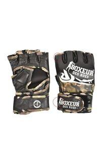 Boxeur Des Rues Mens Half Finger  Gloves Camouflage Print Green Size L