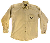 Harley Davidson Khaki Canvas Harley Owners Group Button Up Shirt Men's Size XL