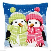 Chunky Cross Stitch Cushion Front Kit Vervaco Scarved Penguins 40x40cm