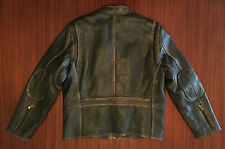 New MARC NEW YORK Café Racer Distressed Leather Jacket Cowhide Brown Men's M L
